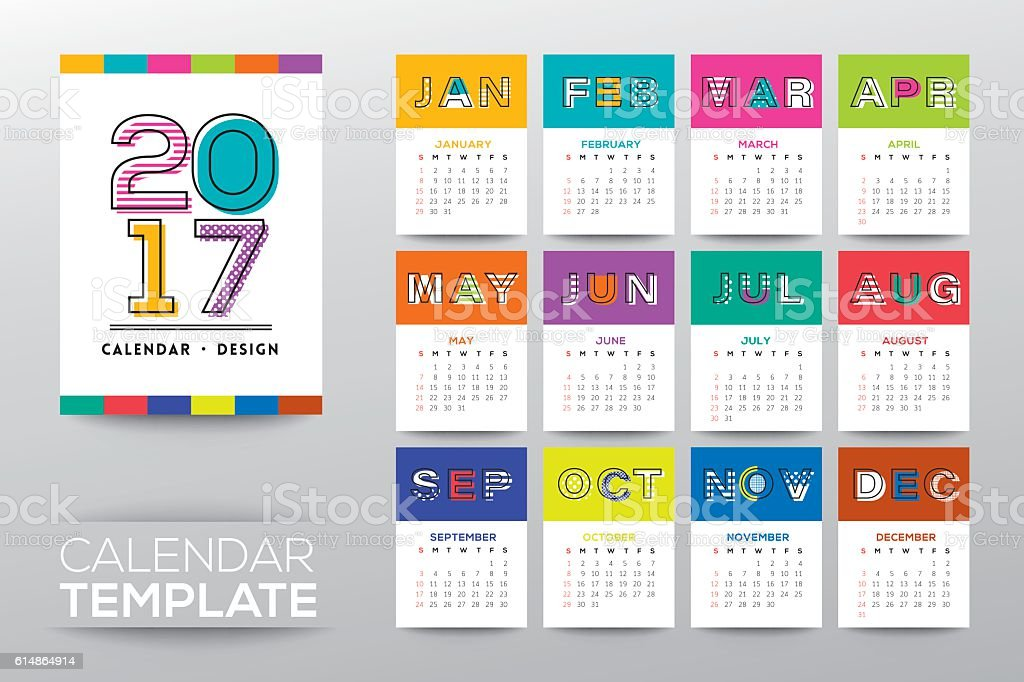 2017 calendar template with modern line graphic style vector art illustration