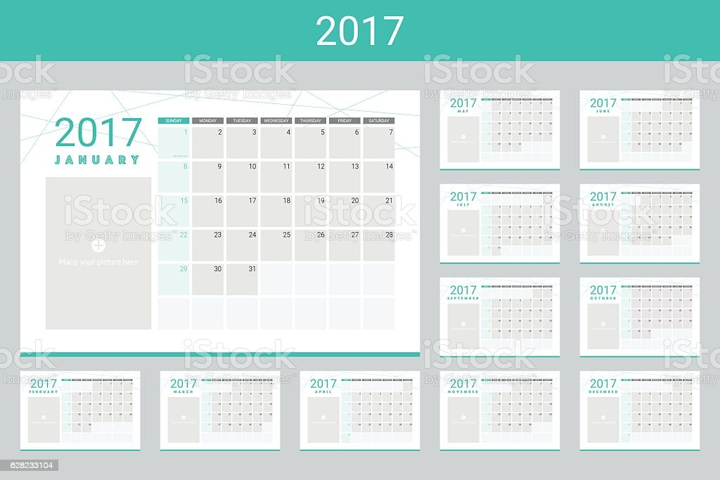 2017 calendar twelve month set vector art illustration