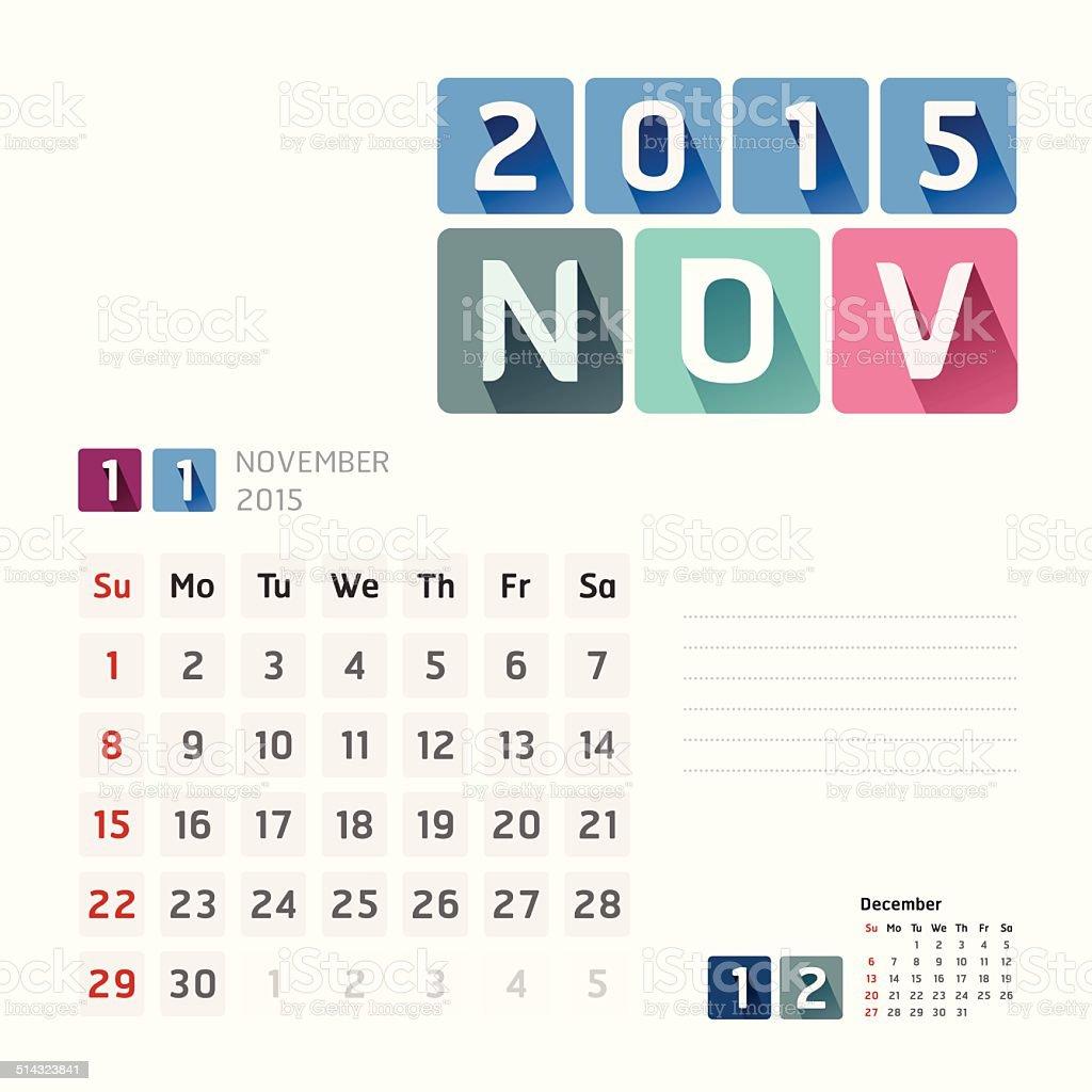 2015 Calendar Vector  Design. November vector art illustration
