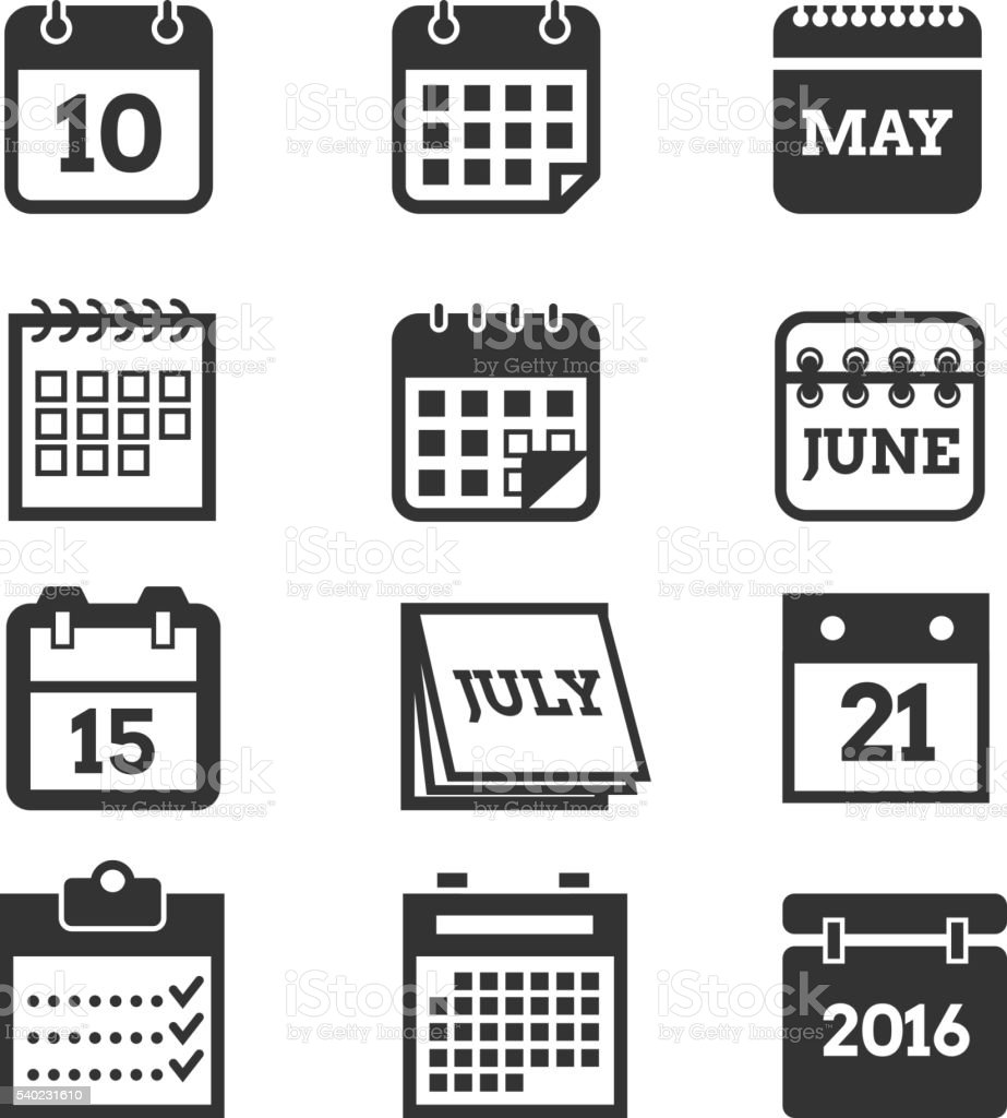 Calendar vector icons set vector art illustration