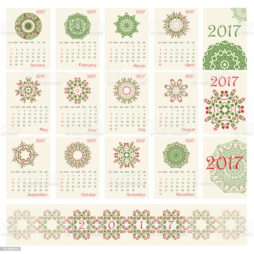 2017 Calendar with ethnic round ornament pattern in red and vector art illustration
