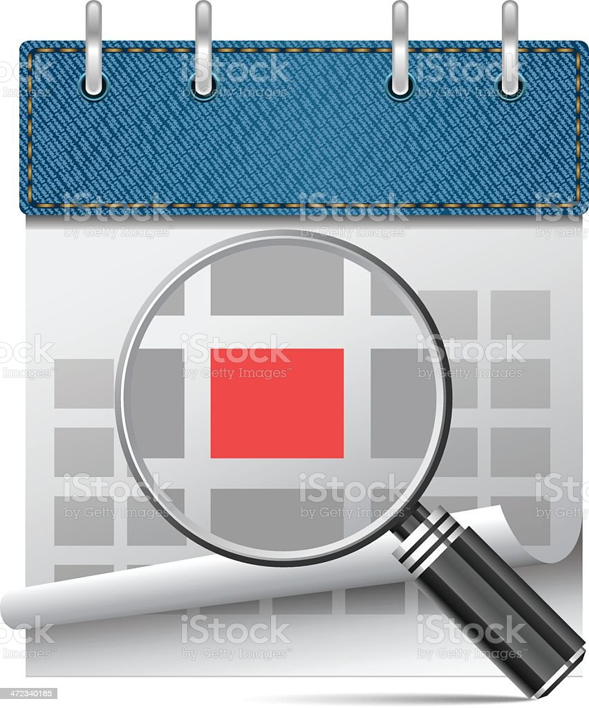 Calendar with magnifier royalty-free stock vector art