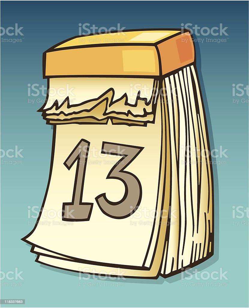 calendar with thirteenth date vector art illustration