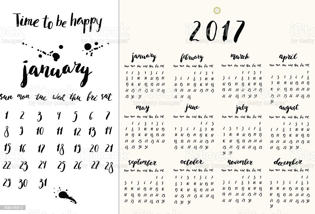Calendar year 2017 with hand written ink lettering vector art illustration