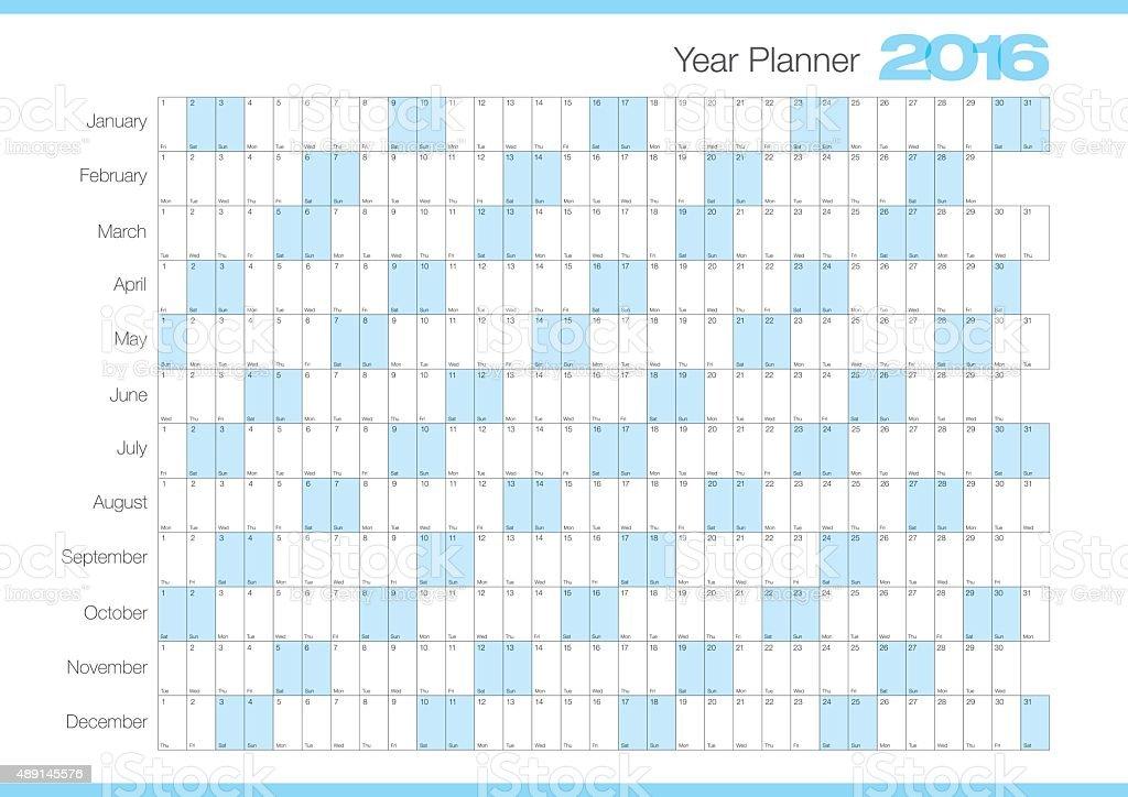 Calendar Year planner 2016 vector art illustration