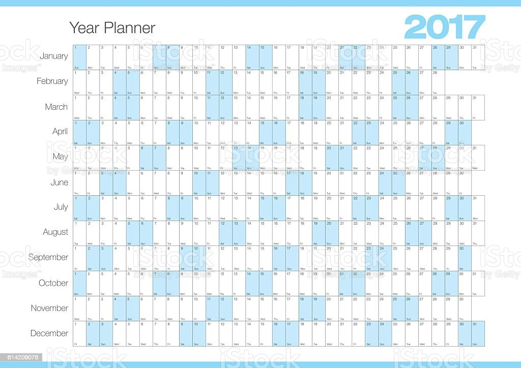 calendar year planner 2017 chart illustration chart number 2017 annual ...