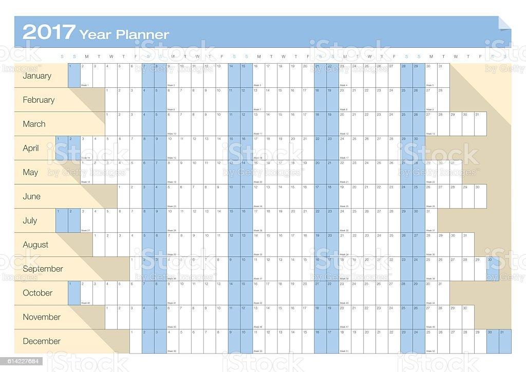 Year Calendar Chart : Calendar year planner chart stock vector art
