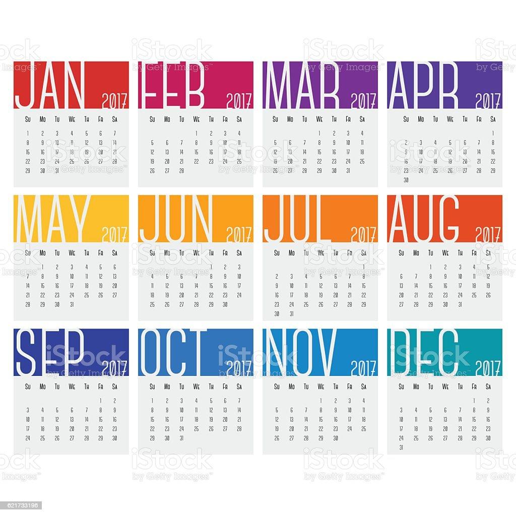 2017 Calendars vector art illustration