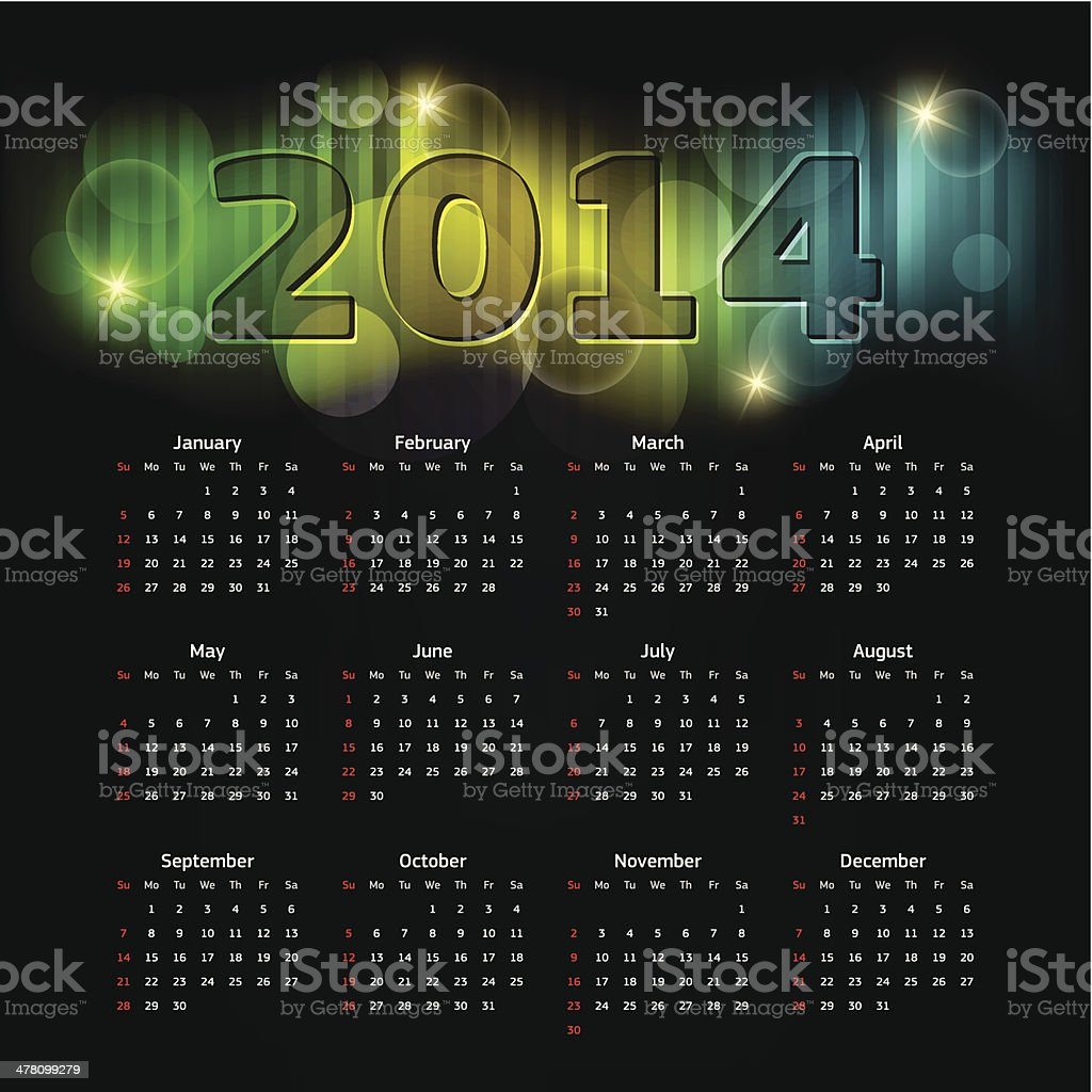 Calender 2014 royalty-free stock vector art
