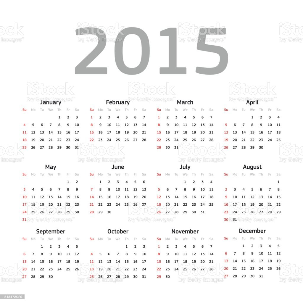 Calender 2015 vector art illustration