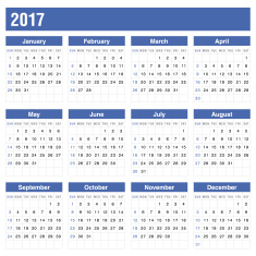Calender 2017 In Blue Color -