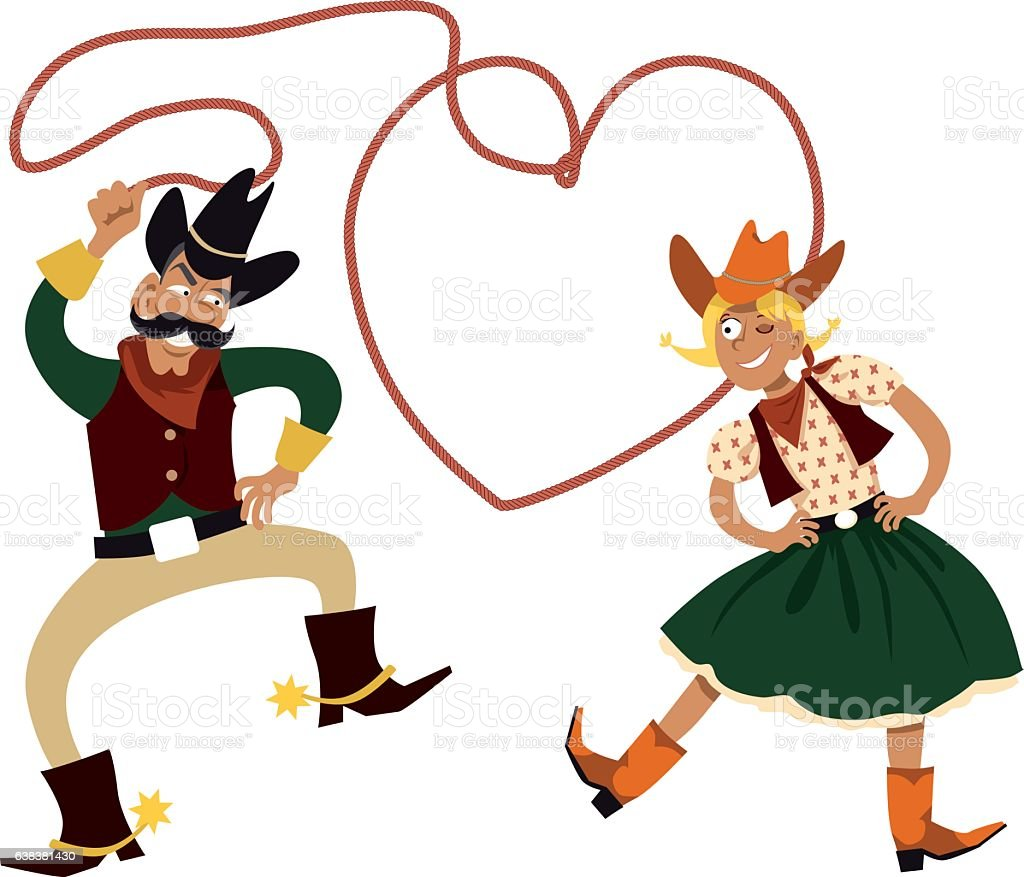 Calentine's Day Hoedown vector art illustration