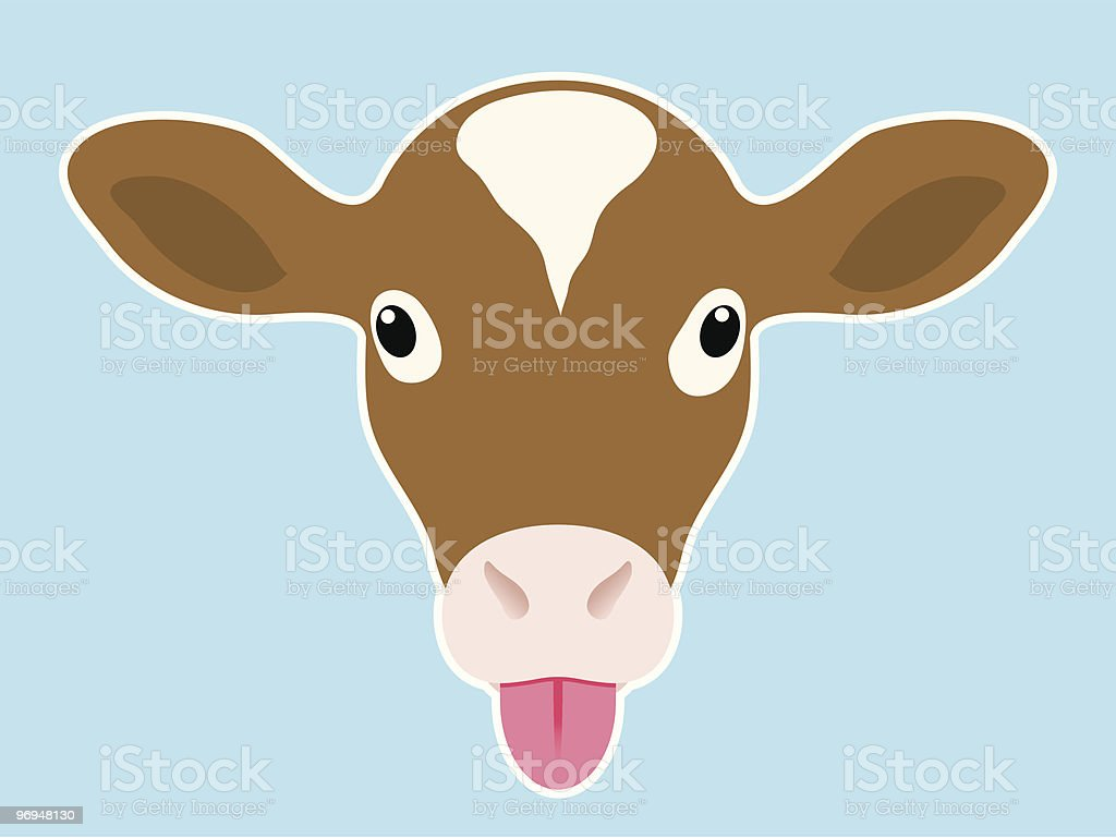 Calf head sticking out tongue vector art illustration