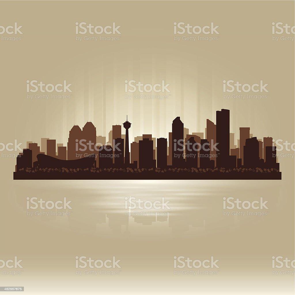 Calgary Canada brown skyline city silhouette royalty-free stock vector art