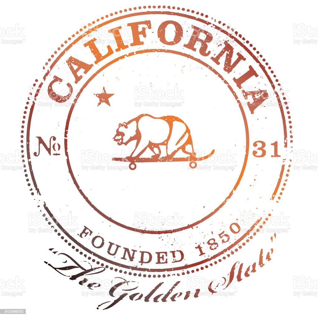 California Bear Skateboarding Stamp vector art illustration