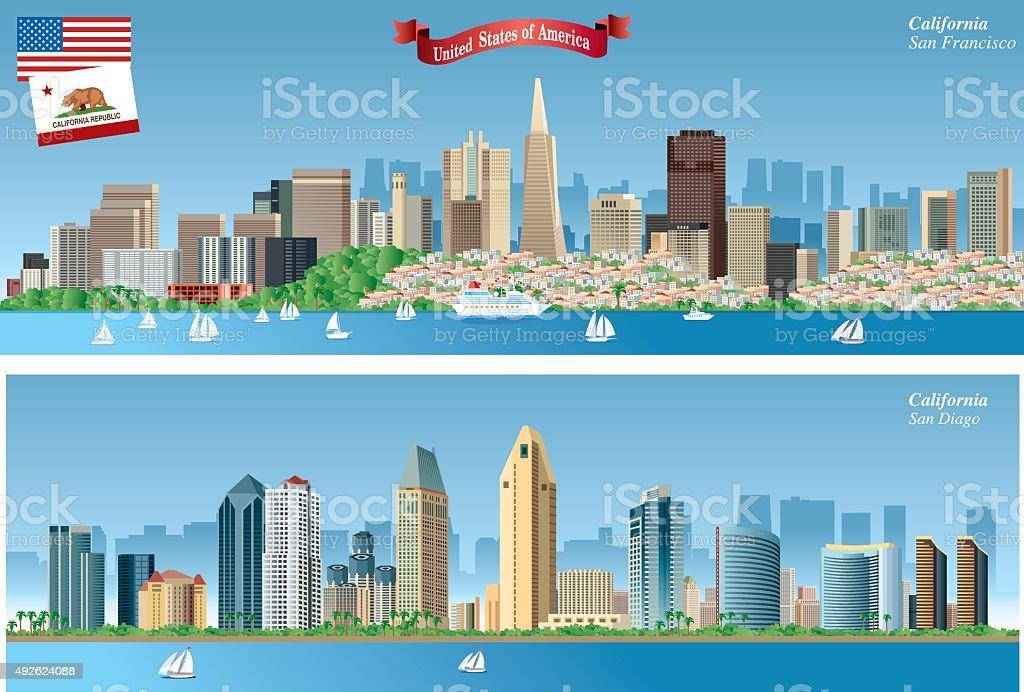 California Citys Skyline vector art illustration