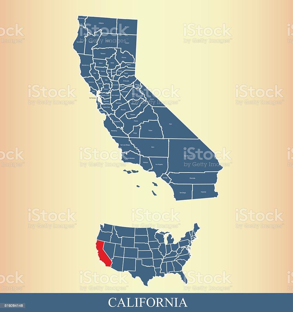 California county map outline vector illustration in creative design vector art illustration