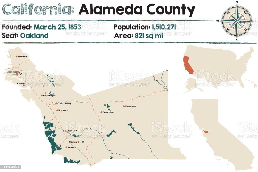 California: county map vector art illustration