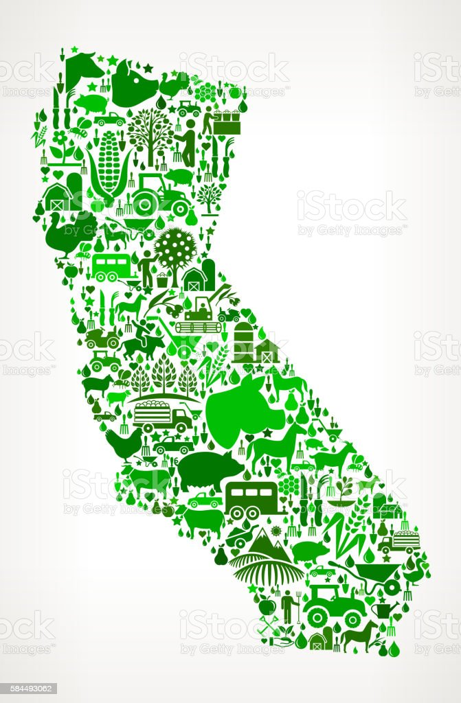 California Farming and Agriculture Green Icon Pattern vector art illustration