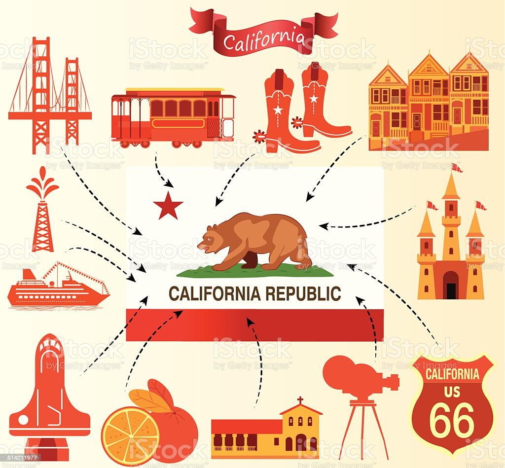 California flag vector art illustration
