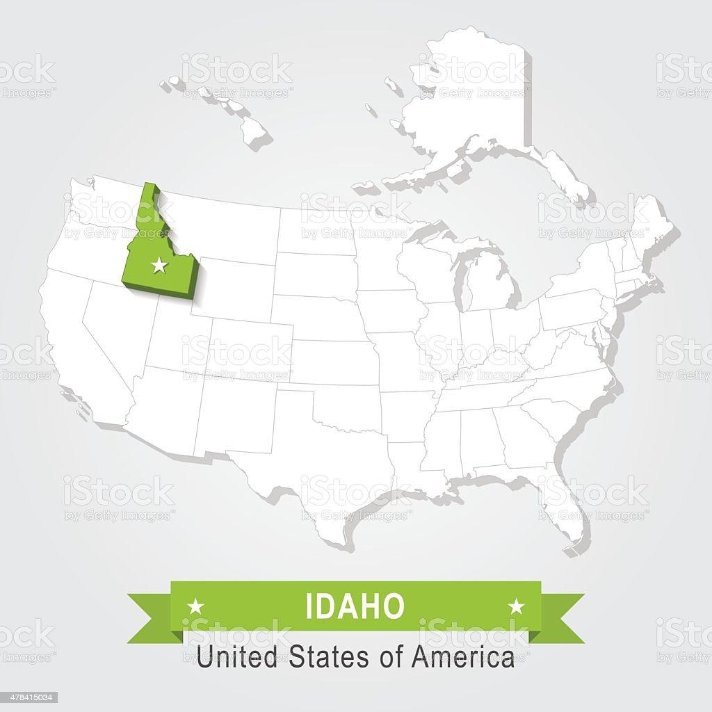 California Idaho. USA administrative map vector art illustration