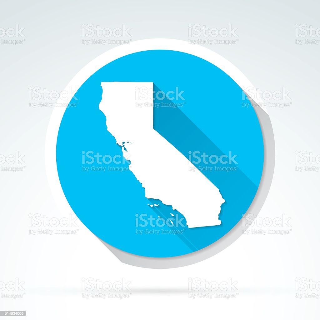 California map icon, Flat Design, Long Shadow vector art illustration