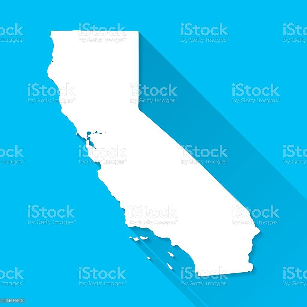 California Map on Blue Background, Long Shadow, Flat Design vector art illustration