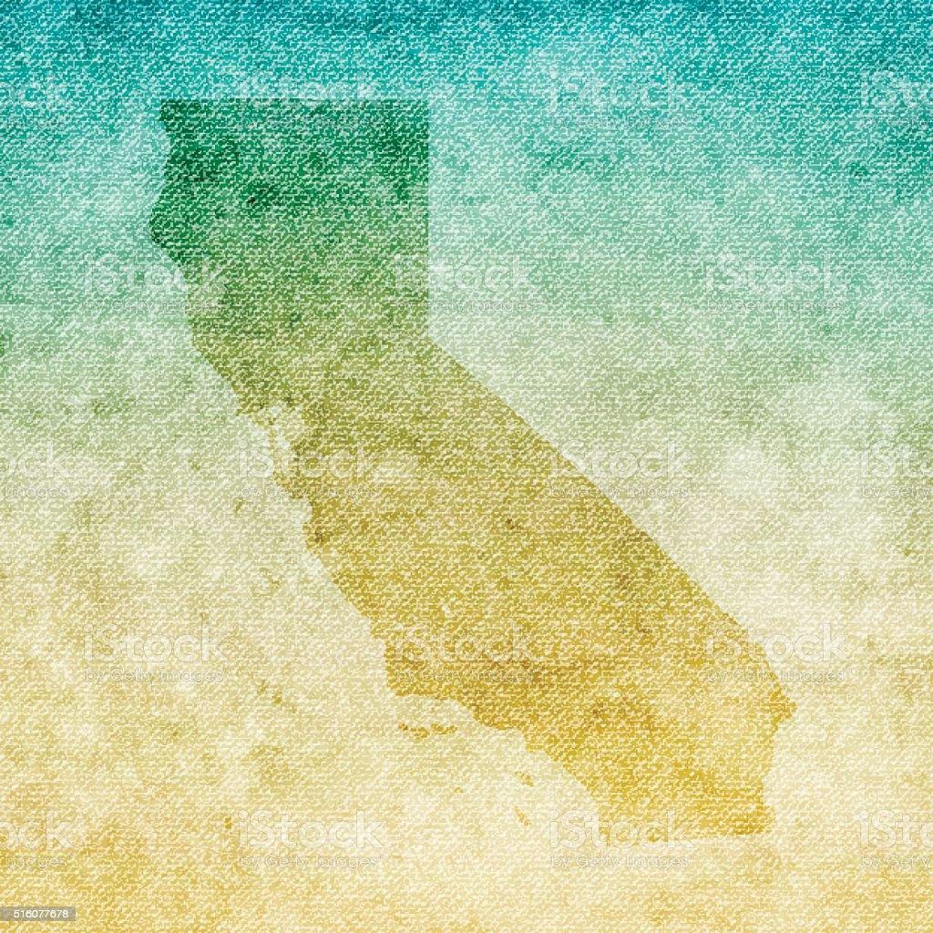 California Map on grunge Canvas Background vector art illustration