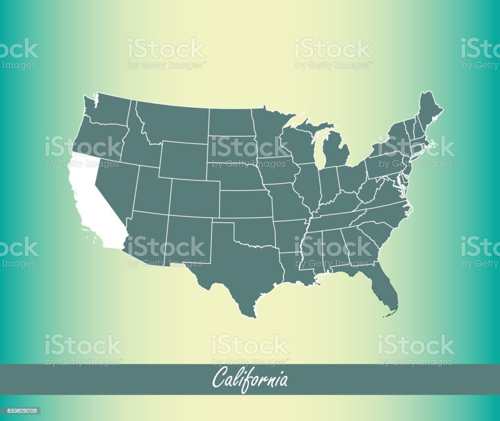 California Map Vector Outline Illustration Highlighted In Us Map - Map of us with florida and california highlighted