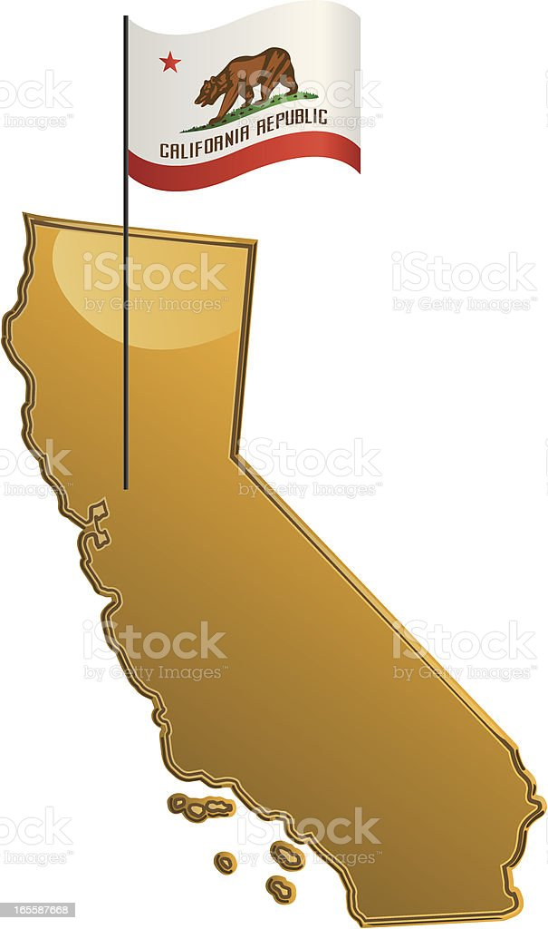 California Map with Flag royalty-free stock vector art
