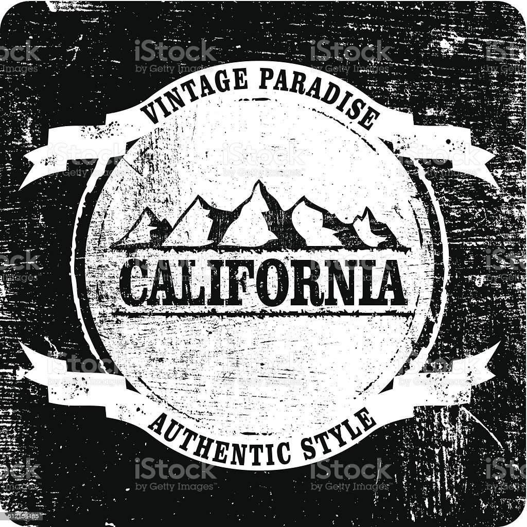 california mountains grunge shield vector art illustration