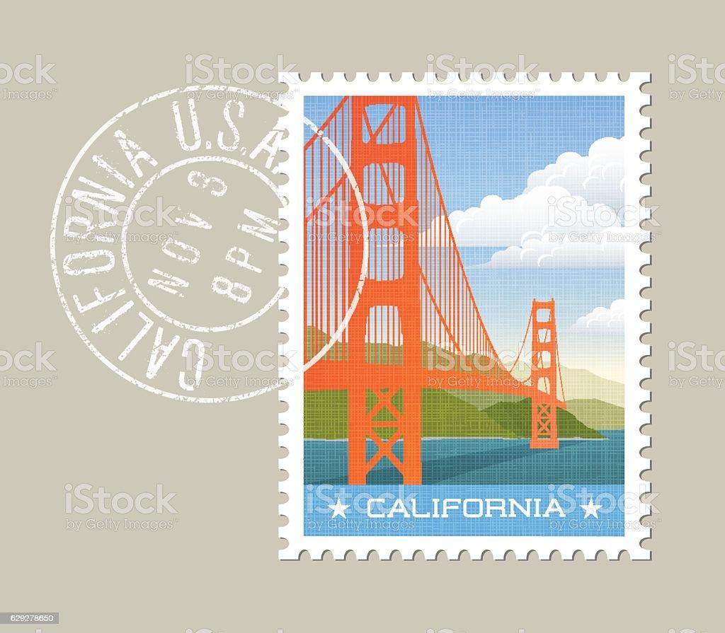 California postage stamp design. Vector illustration of golden gate bridge. vector art illustration