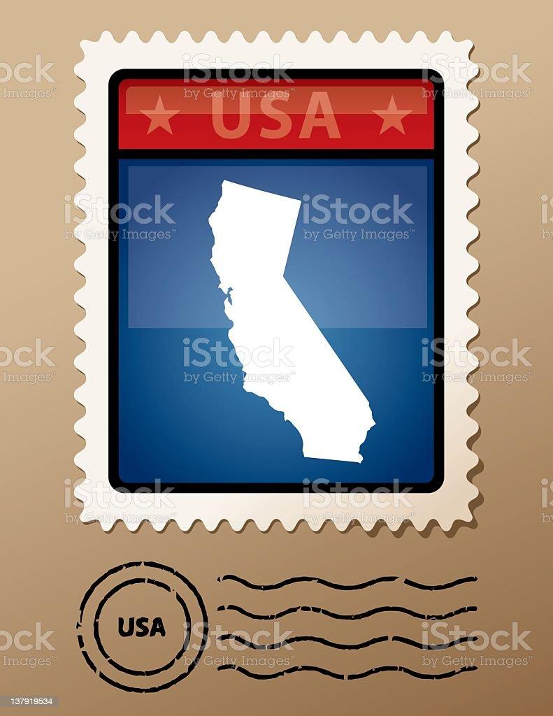USA California postage stamp royalty-free stock vector art