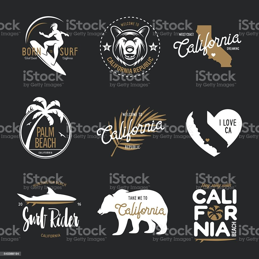 California related t-shirt vintage style graphics set. Vector illustration. vector art illustration