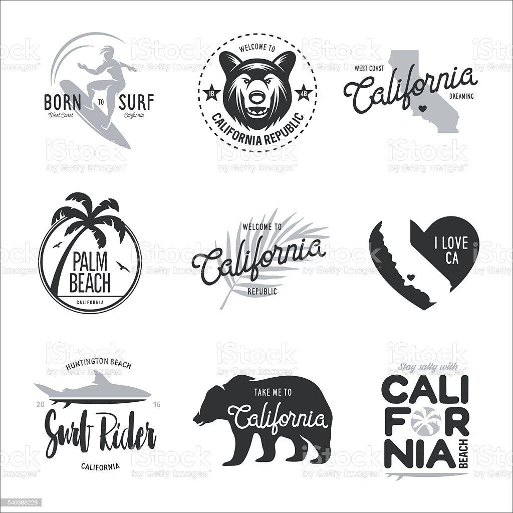 California related t-shirt vintage style graphics set. Vector illustration. vector art illustration