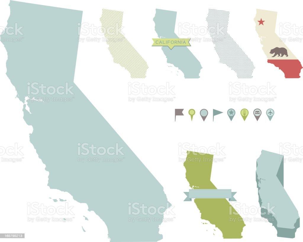 California State Maps vector art illustration