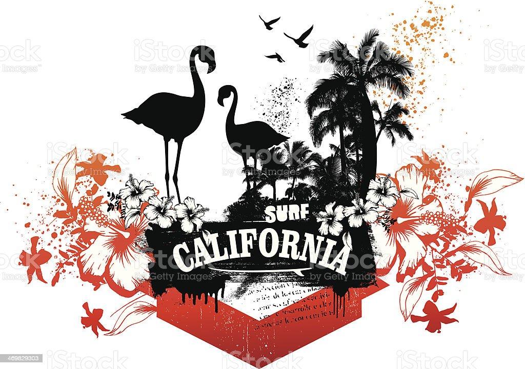 california surf scene with flamingos royalty-free stock vector art