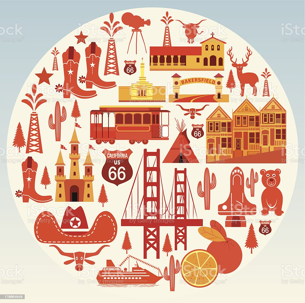 California Symbols Travel vector art illustration