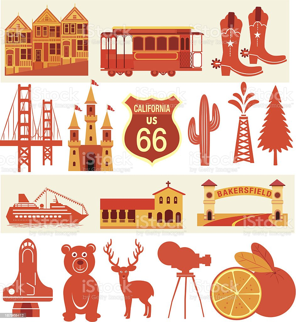 California Symbols vector art illustration