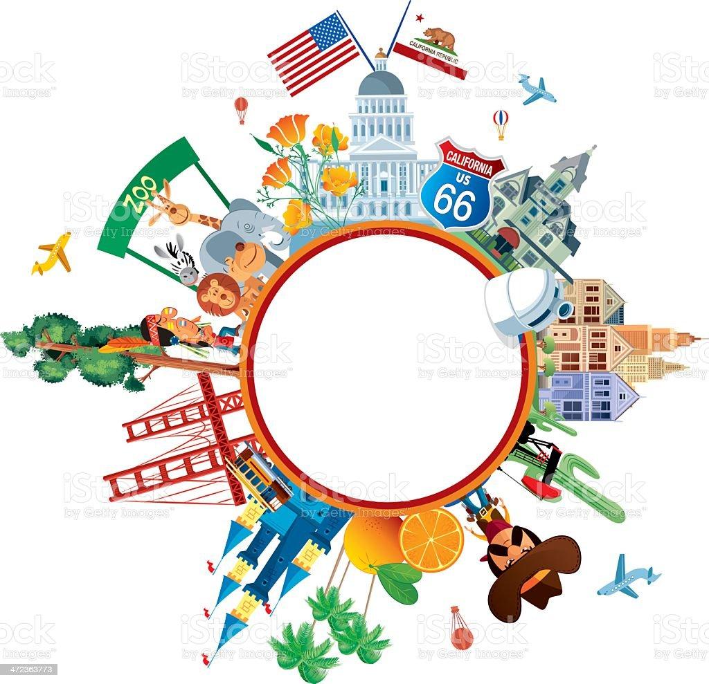 California Travel vector art illustration