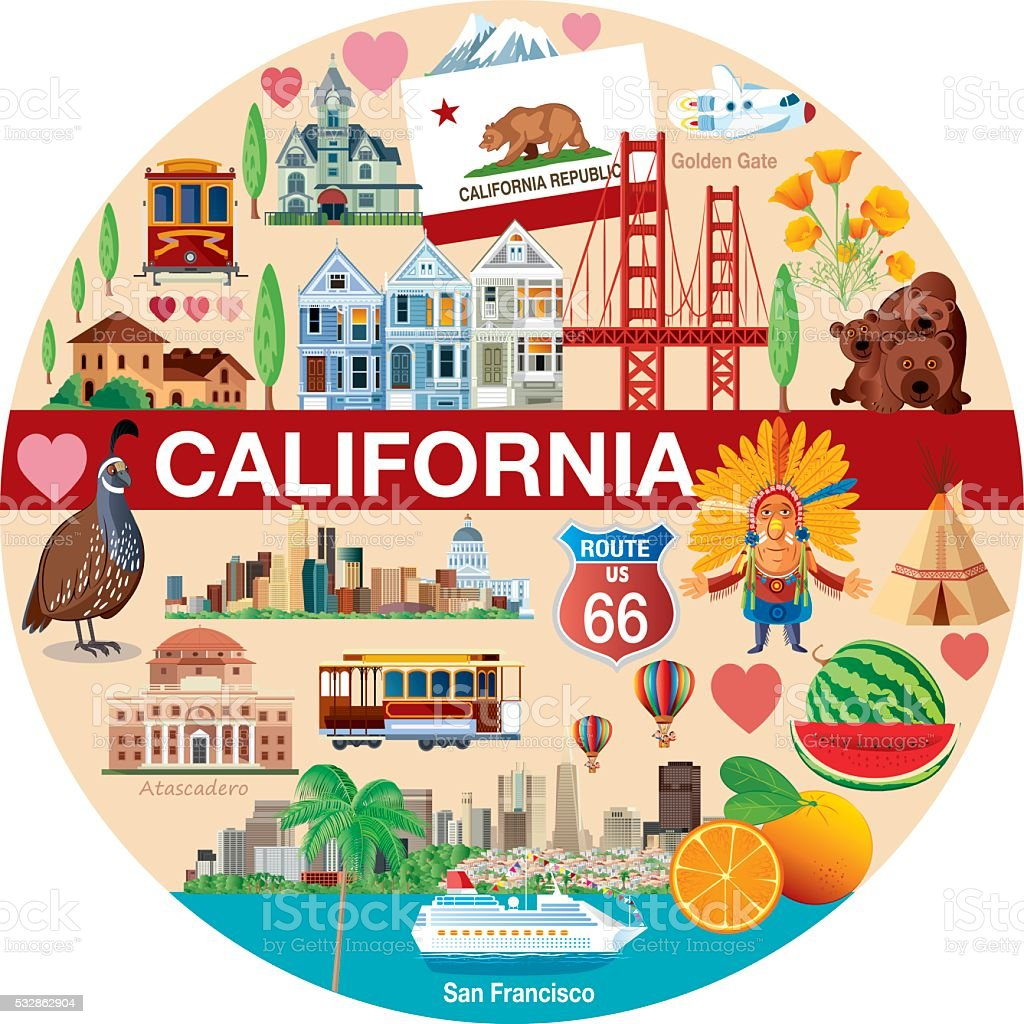 California Travels vector art illustration