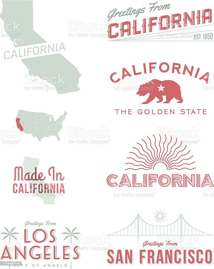 California Typography vector art illustration