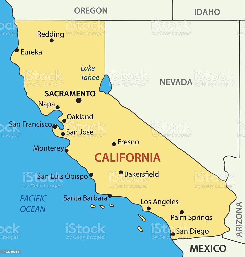 California - vector map vector art illustration