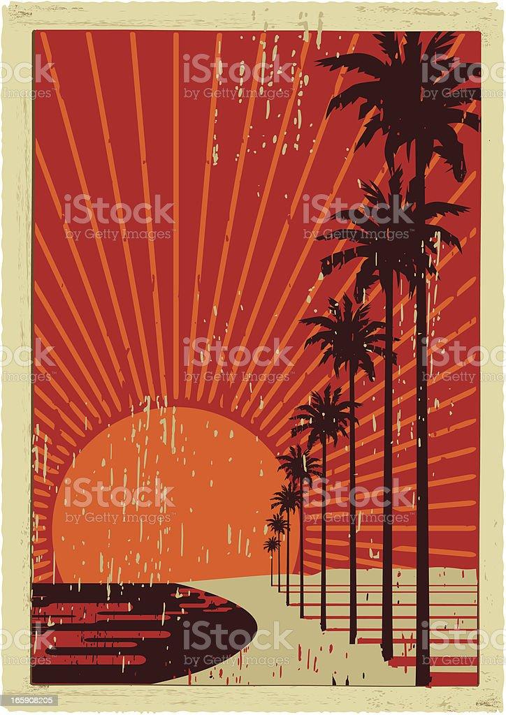 california vintage surfing vector art illustration