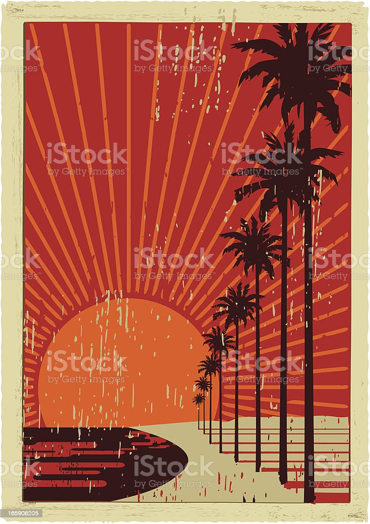 california vintage surfing vector art illustration