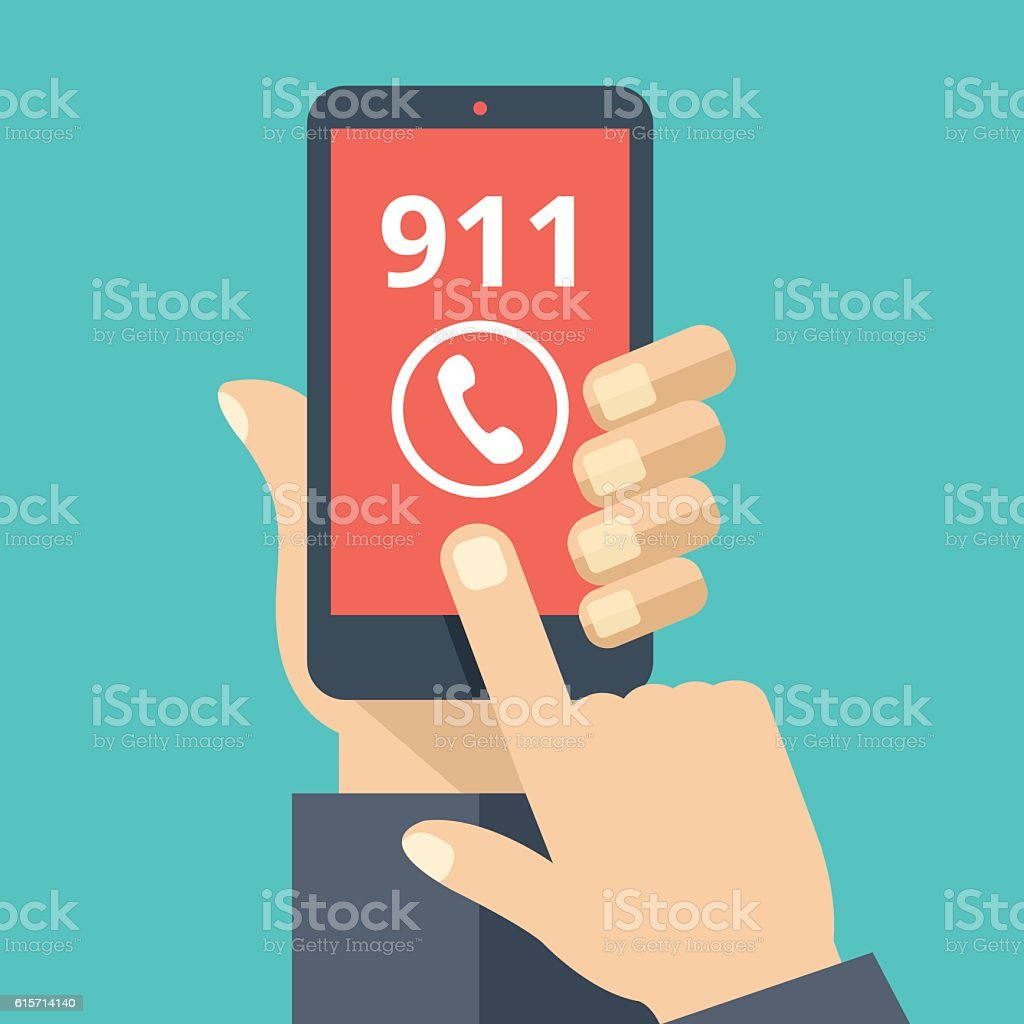 Call 911, emergency call. Hand holding smartphone, touching call button vector art illustration