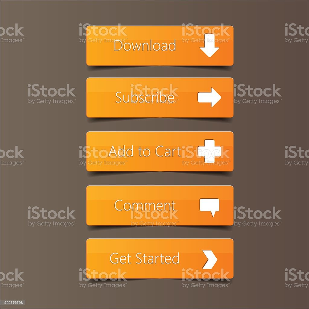 Call Action Button Orange Background vector art illustration