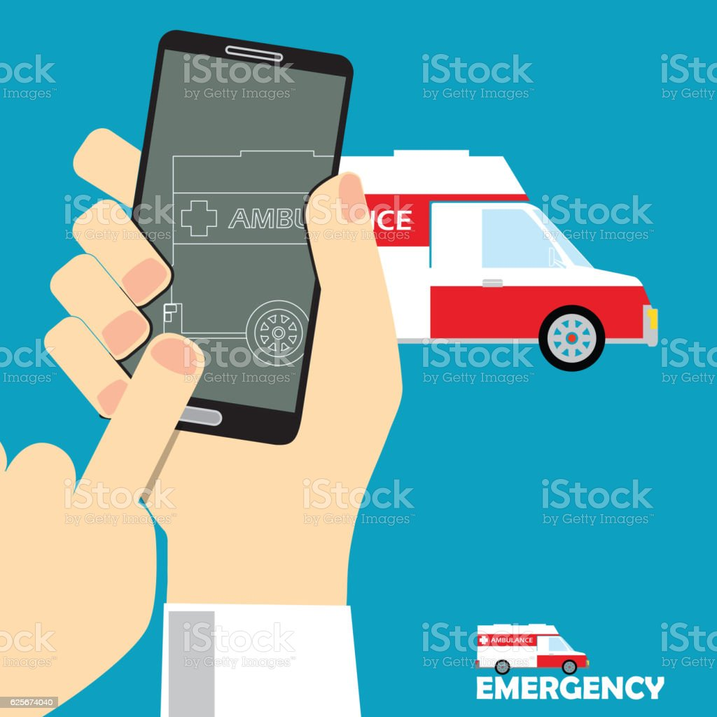 call ambulance  flat style vector art illustration