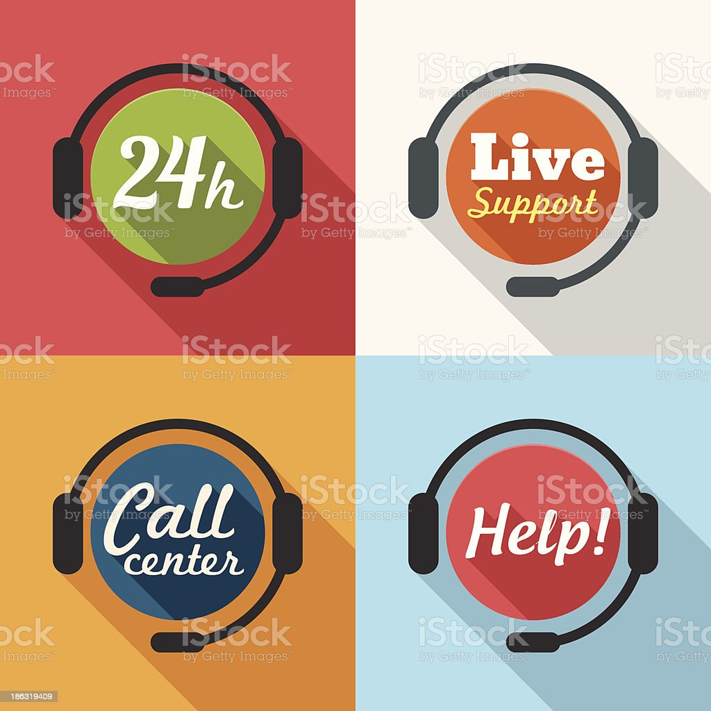 Call Center / Customer Service / 24 hours Support Flat Icon set royalty-free stock vector art