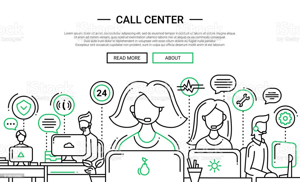 Call Center - line design website banner temlate vector art illustration